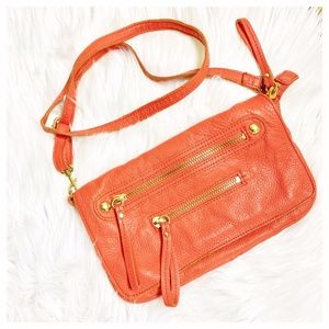 Linea Pelle Supple Orange Leather Crossbody Bag